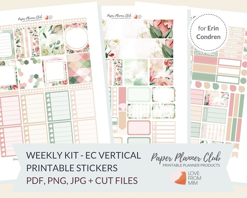 photograph regarding Printable Life Planner named Lovely Peach Bouquets: Weekly Package Printable Planner Stickers Package for Erin Condren Existence Planner Weekly Planner Stickers
