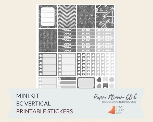 graphic relating to Printable Arrows called Chalkboard Arrows Printable Planner Stickers Mini Package for