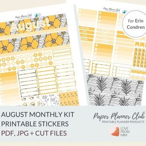 This Printable Yellow Florals August Monthly Kit for the Erin Condren LifePlanner has stickers has so much choice in this digital printables sticker kit. #planneraddict #plannerstickers #printableplannerstickers #etsystickers #erincondrenstickers #planning #monthlykit #augustplanner #lovefrommim #paperplannerclub #auguststickers #floralstickers #yellowstickers