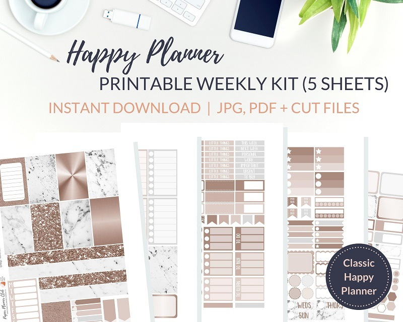 Printable Rose Gold Marble Weekly Kit of printable planner stickers for the Classic Happy Planner or most other planners! Get the best Happy Planner planner stickers and printable Happy Planner stickers in my best planner stickers range. #plannerstickers #freeprintables #printableplannerstickers #weeklykit #weeklystickers #etsystickers #happyplannerstickers #planning #happyplanner #lovefrommim #paperplannerclub