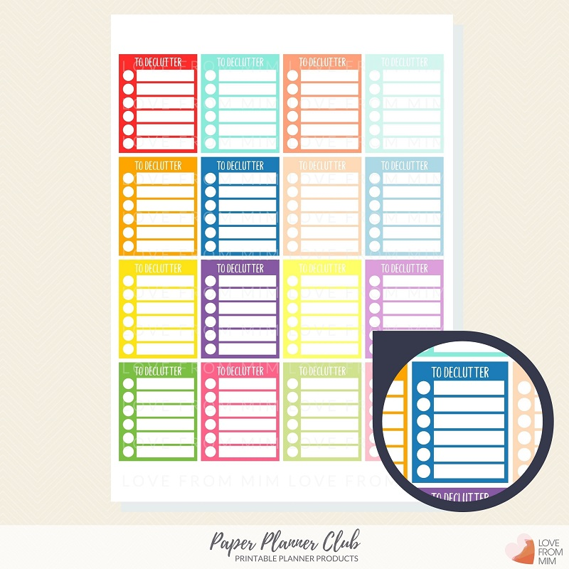 Paper Planner Club - To Declutter Printable Stickers